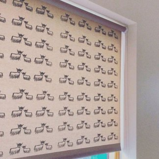 Hand-printed Highland Coo Roller Blinds by Clement Design