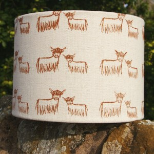 Hand-printed Highland Coo Lampshade (Large) by Clement Design