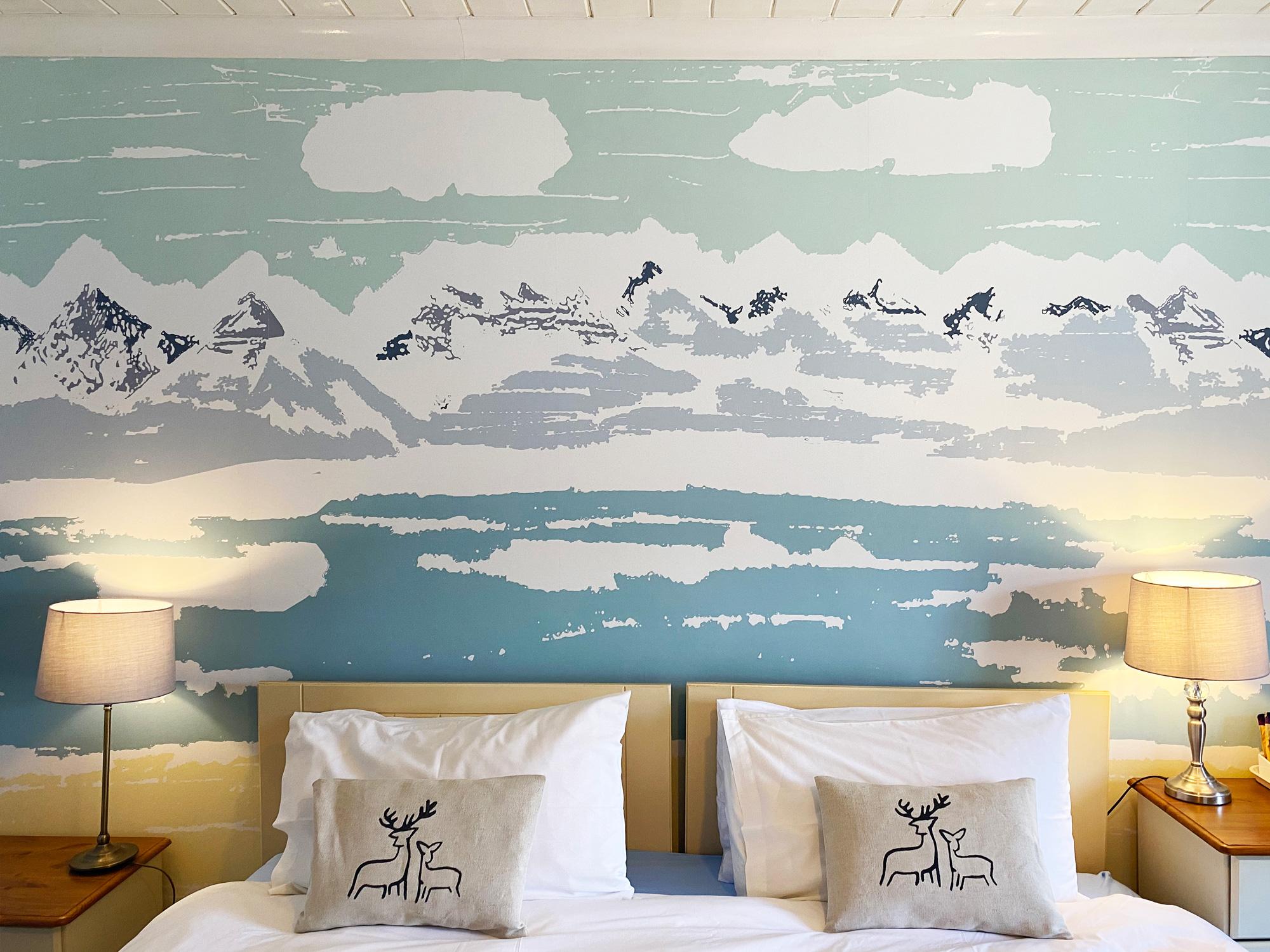 Applecross Bay Mural wallpaper Hand-printed Deer Cushions at Applecross Inn by Clement Design