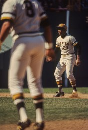 Roberto Clemente and Willie Stargell line up during a Three Rivers day game. Circa 1971/72.
