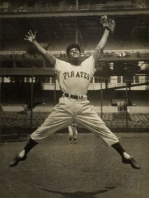 One of the first major league photos of Roberto Clemente taken during his rookie year.