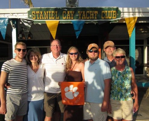 Alex, Carol, David '75, Sydney Waller '09 and Matt '06, M '09 Howle along with Gene and Joy '79 Waller visited the Staniel Cay Yacht Club in Exumas.