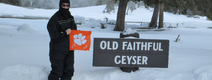 Wyoming - Cathy Young Tillet '82, M '96 braved the cold at Old Faithful Geyser in Yellowstone National Park.