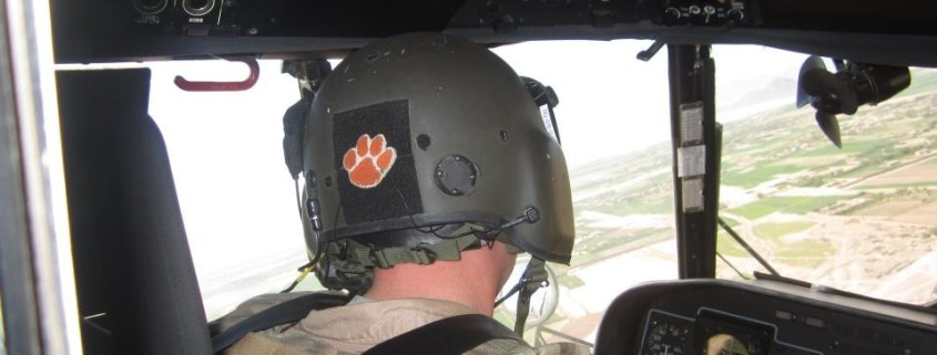 Afghanistan - U.S. Air Force Capt. Mike Quinn '06 displayed his Tiger pride while flying over Shindand.