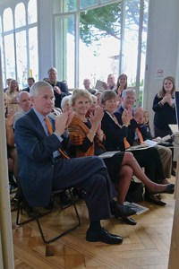 President and Mrs. Barker are joined by Minor Mickel Shaw, Hal Shaw , and alumni and friends in the Genoa architecture studio as Clemson celebrated the 40th anniversary of the Charles E. Daniel Center for Building, Research and Urban Studies in Genoa on March 25, with a virtual handshake and simultaneous events at all four campuses of the School of Architecture.