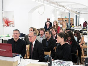 Professors Miguel Roldan and Jose Caban, co-directors of the Clemson Architecture Center in Barcelona, along with other faculty and students, join the simulcast.