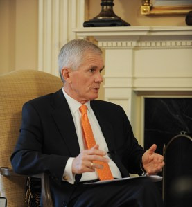 President James F. Barker during an interview with editor of Clemson World magazine, Nancy Spitler.
