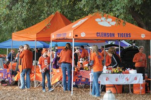 Orange tents, orange clothes and a spread of food to satisfy every palate.