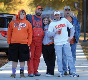 Orange overalls are a staple in the wardrobe of many Clemson fans.
