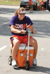 Vehicles of all kinds make their way to campus. This motorized cooler is a particularly clever device.