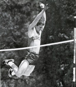 """Fellow DKA J. Allen Carroll '69, M '71, tells this story: """"As a pole vaulter on the track team, Jim had to find time to practice. The pole vault pit was behind the frat house. One morning we looked out and saw Jim asleep in the pit where he had collapsed following a late night practice session."""" According to others, including Chair of the Board of Trustees David Wilkins (also a fellow DKA), Barker awoke, """"covered in dew, having slept in the pole vaulting pit the entire night. Since the gym was closed at that early hour, Jim struggled to get his pole up the stairs and into the fraternity house, having to finally lay it down in the hall."""""""