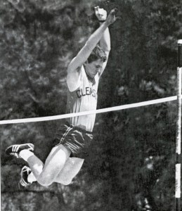 "Fellow DKA J. Allen Carroll '69, M '71, tells this story: ""As a pole vaulter on the track team, Jim had to find time to practice. The pole vault pit was behind the frat house. One morning we looked out and saw Jim asleep in the pit where he had collapsed following a late night practice session."" According to others, including Chair of the Board of Trustees David Wilkins (also a fellow DKA), Barker awoke, ""covered in dew, having slept in the pole vaulting pit the entire night. Since the gym was closed at that early hour, Jim struggled to get his pole up the stairs and into the fraternity house, having to finally lay it down in the hall."""