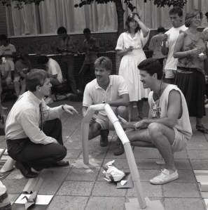 "Barker returned to Clemson in 1986 as dean of the College of Architecture. One of the first events that fall was a ""get-acquainted"" cookout held for architecture faculty, staff and students in the Lee Hall Courtyard."