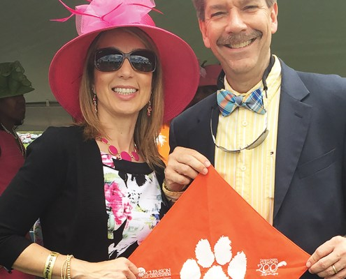 Virginia Ana and Paul M '87 Seelman brought their Tiger Rag to watch the Virginia Gold Cup horse race in Warrenton. The Baltimore/D.C. Clemson Club had an anchor tent on University Row.