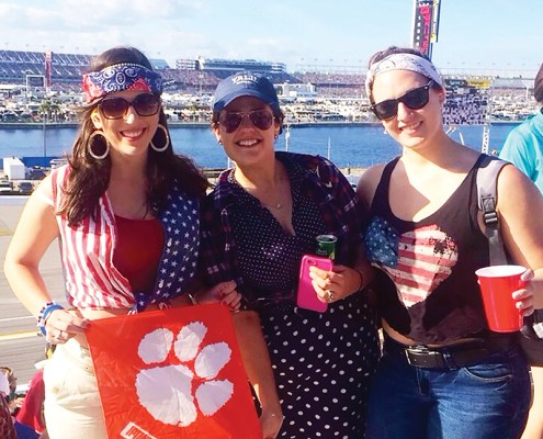 Florida Hannah Esposito '11, Jordan Hollis '12 and Danielle Drag '10 display Tiger pride at the Daytona 500 race