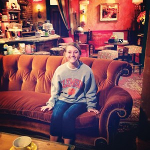 """California Shelley Neal '15 displays her Clemson pride on the set of """"Friends"""" at the Warner Brothers Studio in Burbank."""