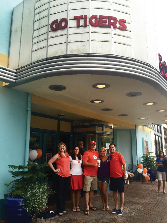 Pictured: Jacksonville Club leadership (l-r), in front of the San Marco Theatre: Ashley Helmick '11, president; Hannah Esposito '11, community relations director; Jon Storck '99, secretary; Megan Storck; and Brandon Beck '01, vice president.