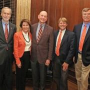 Provost Bob Jones (left), Heather and Glenn Hilliard, Patrick McMillan and George Askew, dean of the College of Agriculture, Forestry and Life Sciences, at the professorship presentation.