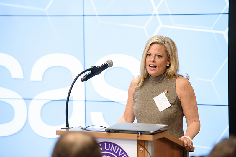 Emily Baranello, vice president for education practice at SAS, spoke during the announcement of the SAS Clemson partnership.