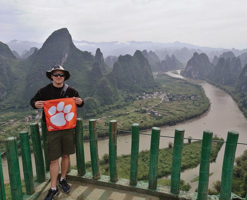 Sean Connolly '00, M '02 flies his Tiger Rag from central China in Yangshuo where he was visiting Wuhan University to talk about packaging science.
