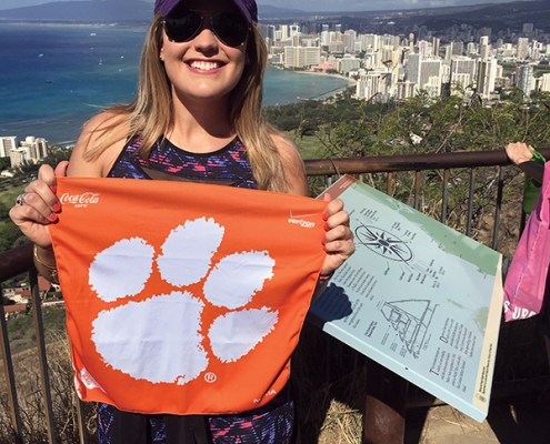 Jordan Hollis '12 summited Diamond Head, an inactive volcano on Oahu, Hawaii, in January.