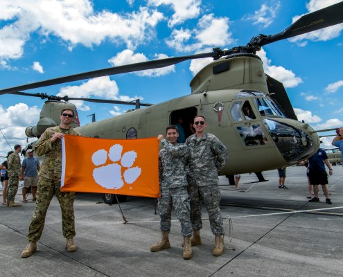 Robert Bussmann '16, Michael Dolan '15 and Matt Koch '15, all 2nd lieutenants, snapped a picture at Ft. Rucker, Ala., just before Dolan's graduation from the U.S. Army's flight school where he learned to fly the CH-47F Chinook, a heavy-lift cargo helicopter. Bussman is currently training on the UH-72 Lakota, a utility helicopter, and will complete his advanced training in the Chinook. Koch graduated flight school in October where he learned to fly the AH-64D Apache, an attack helicopter.