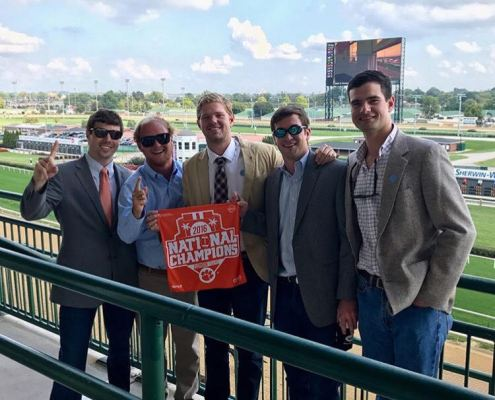 Hayden Grooms '16, Natty Long '17, Nate Adams '16, Eric Schelble '16 and Andrew Caitlin '15 visited Churchill Downs before enjoying a Clemson football win at Louisville.