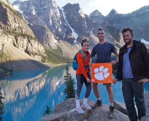 Amanda Hrubesh '13, Collin Clemons '16 and Will Middlebrooks '14 at Moraine Lake in Banff National Park, Alberta, Canada. Amanda and Collin met at Clemson and plan to wed in May 2018 with Will as a groomsman in the ceremony.