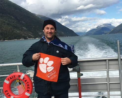 Andrew Sayer '12 packed his Tiger Rag when he traveled to Alaska and explored Glacier Bay as well as the nearby areas of Skagway and Haines.