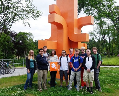 Germany: Shannon Fisher '13, Jorge Rodriguez, professor of mechanical and bioengineering, Carson Joye '15, Elizabeth Zanin '17, Zach Hadock '17, Chris Lane '18, Zack Thomson '18, Lucas Staccioli '16, Bill O'Connell '16 and George Rawls '17