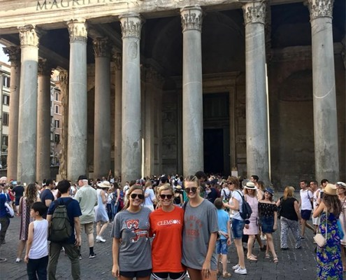 Italy: Janie West '18, Lucy Stevens '18 and Neale Madden '18