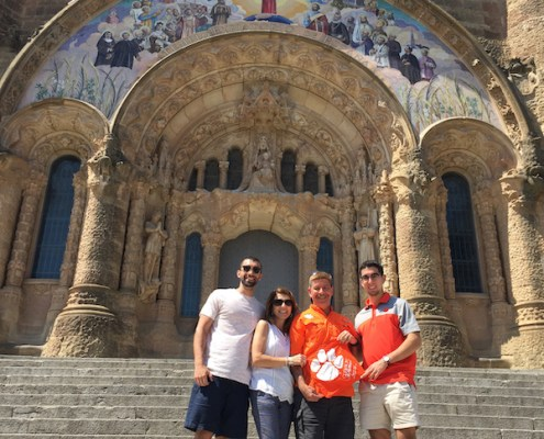 Spain: Left to right, Tyler, Paul M '87, Ana and Kyle '20 Seelman