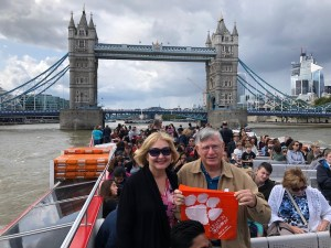 England: Tom Bethea '70 and his wife, Dorothy, visiting Tower Bridge in London.