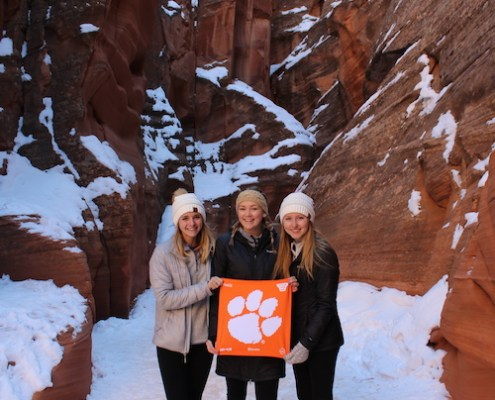 Arizona: Madison Cain '18, Gabrielle MacDonald '18 and Laura Mann '18 enjoy Antelope Canyon, a slot canyon in Arizona, as part of their graduation trip.
