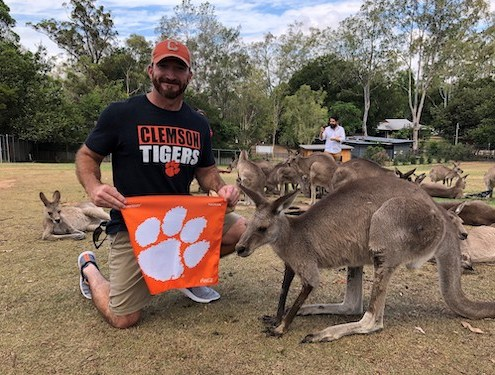 Australia: Keith Hendrix '98 made friends with the kangaroos of Lone Pine Koala Sanctuary near Brisbane.