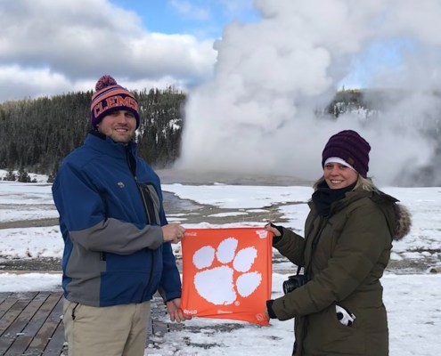 Wyoming: Bryan J. Hamby '10 and his sister Heather Hamby Hill '12 paid Old Faithful a visit in Yellowstone National Park, December 2018.
