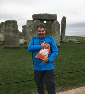 England: James E. Corley Jr. '76 pulled out his Tiger Rag in front of the iconic Stonehenge in the English countryside.