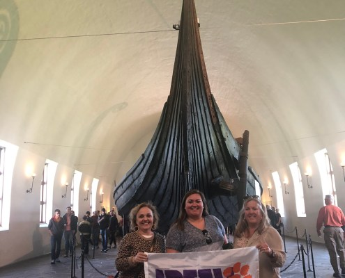 Norway: Cathi DuRant Coutu '87, Jordan Weir '16 and Jill Weir '83, M '93 visited the Viking Ship Museum in Oslo.