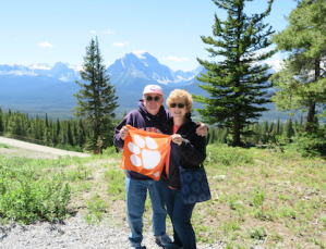 Canada: Mike '76 and Wylyn '80 Doherty enjoy the views of the Canadian Rockies near Lake Louise in Alberta.