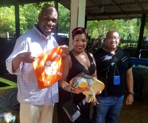Sri Lanka: John J. Evans Ed.D. '01, M '03, Paulette J. Evans '01 and Rondell A. Lee '05 visited the Sea Turtles Conservation and Research Centre in Ahungalla.