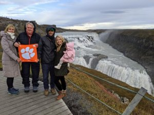 Iceland: Laine '77 and Ed '76 Wiedemann and Duane '11 and Emily '12 Ensor with their daughter Townes traveled to Gullfoss Falls in southwest Iceland.