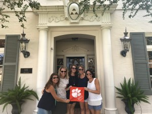 Texas: Clemson Tridelta pledge sisters Jeana Kim Pistone '95, Kerri Miele Brison '95, Shannon Banks Berrian '95, Amy Armbruster Joy '95 and Danielle Cleary Sheeran '95 visited Austin, Texas, for a girls getaway and a stop at the University of Texas's Delta Delta Delta sorority house.