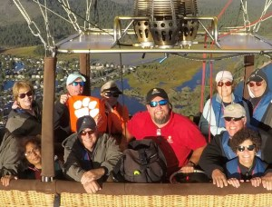 California: David Williams '77 and his wife, Wendy, took a hot air balloon ride over Lake Tahoe.