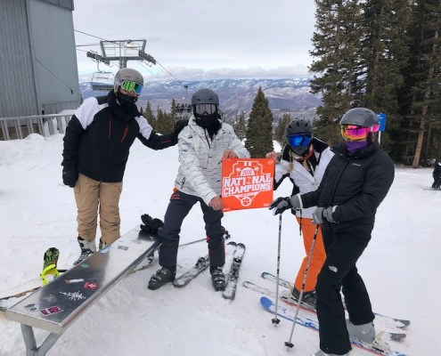 Colorado: Brad McFall '89 took a skiing trip with his wife, Leslie, his son, Bradley, and his daughter, Audrey, in Aspen.