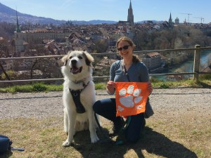 Switzerland: Jessica Baron M '18, a Ph.D. candidate in computer science, visual computing, is abroad in Switzerland for most of 2021 on a Swiss/Fulbright award at EPFL focused on researching feather appearance in computer graphics. Her companion, Fresnel the Great Pyrenees, is now a world traveler, too! This photo was taken in the Swiss capital of Bern.