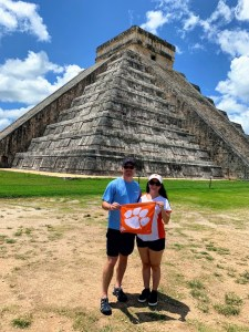 """Mexico: Amanda Trujillo McGill '08 and Henry B. McGill III '09 visited Chichén Itzá, a Mayan city on the Yucatan Peninsula in Mexico. It is one of the New 7 Wonders of the World, and according to Amanda, the name literally means """"at the mouth of the well of the Itzá."""""""