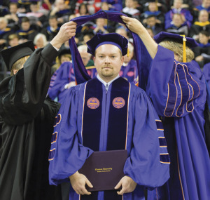 J. Curtiss Fox receiving his doctoral (2013) degree in electrical engineering from Clemson.