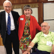 Two members of the Class of 1939, Ralph Boys (standing) and Tee Senn (pictured at right), were presented with Diamond Tiger medallions by Alumni Association president Ann Hunter.