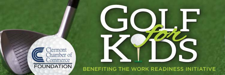 golf for kids outing banner with chamber foundation logo on golf ball
