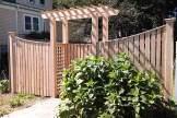 Cedar Board Fence with thin cap & pergola in Stoneham MA